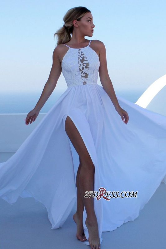 Floor-length Sleeveless Spaghetti-straps Slit Prom Dresses