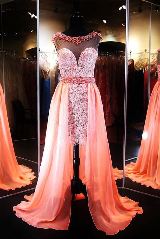 Gorgeous Hi-Lo Lace Illusion Evening Dress 2020 Beading Sleeveless
