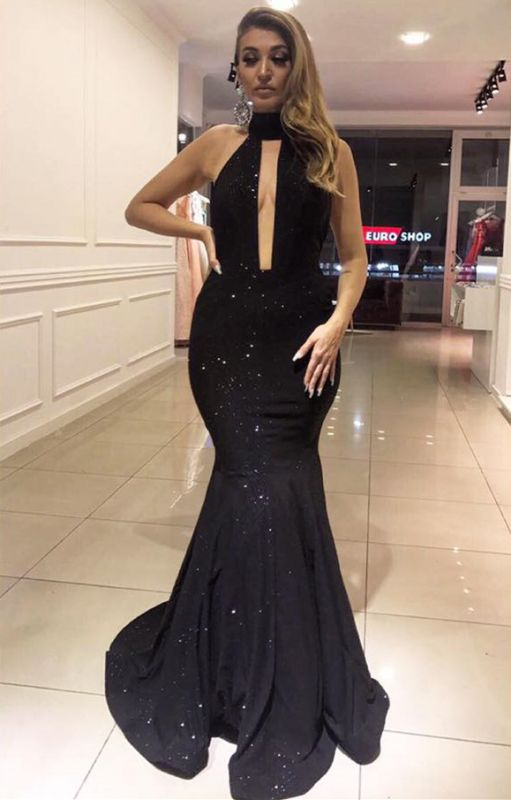 Glamorous Hign Neck 2020 Sleeveless Evening Gown   Sequins Mermaid Prom Dress On Sale