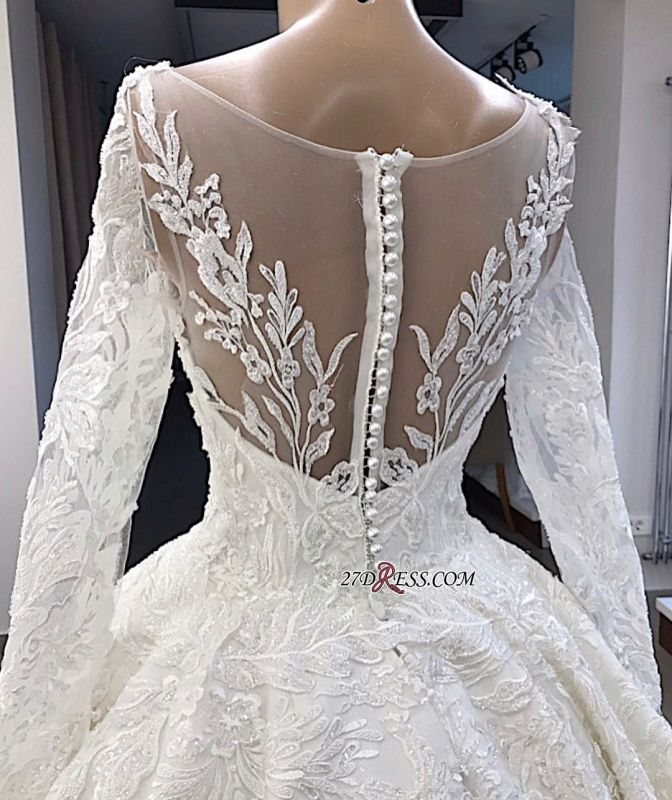 Appliques Long-Sleeves Alluring Scoop Ball-Gown Wedding Dresses