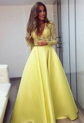 Stunning Yellow Long Sleeve 2020 Prom Dress V-Neck Lace BA3130