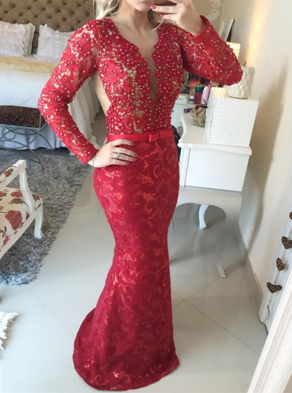 Stunning Long Sleeve Lace Evening Dress 2020 Pearls Mermaid Prom Gown BT0 BA6734