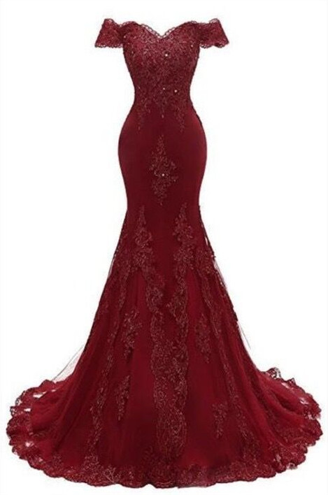 Gorgeous Burgundy Prom Dress | 2020 Mermaid Lace Evening Gowns BC0656