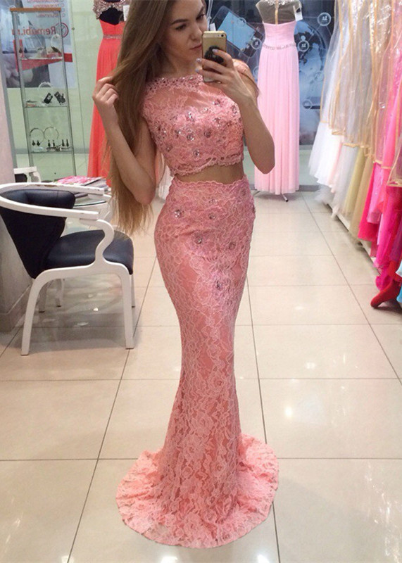 Chic Two Piece Lace 2020 Prom Dress Mermaid Crystal Long Party Dress