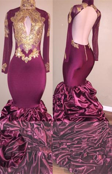 Burgundy Mermaid Prom Dress | 2020 Gold Appliques Party Dress BC1682