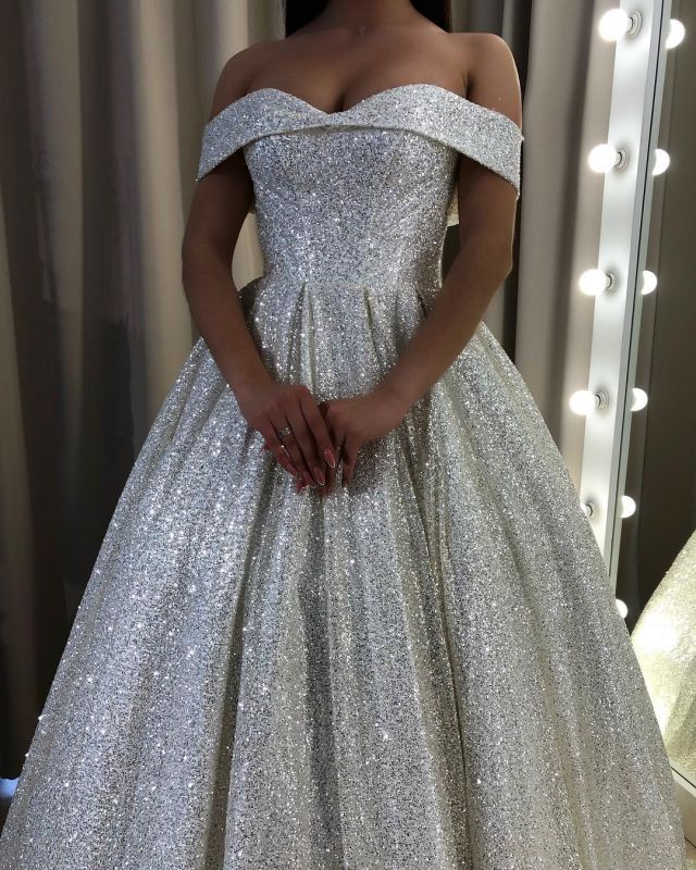 Glamorous Off-the-Shoulder Sequins Prom Dress | Long 2020 Evening Gowns On Sale