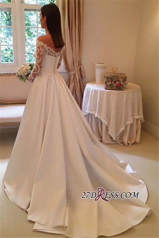 A-Line Off-the-Shoulder Detachable-Train Long-Sleeves Newest Wedding Dresses