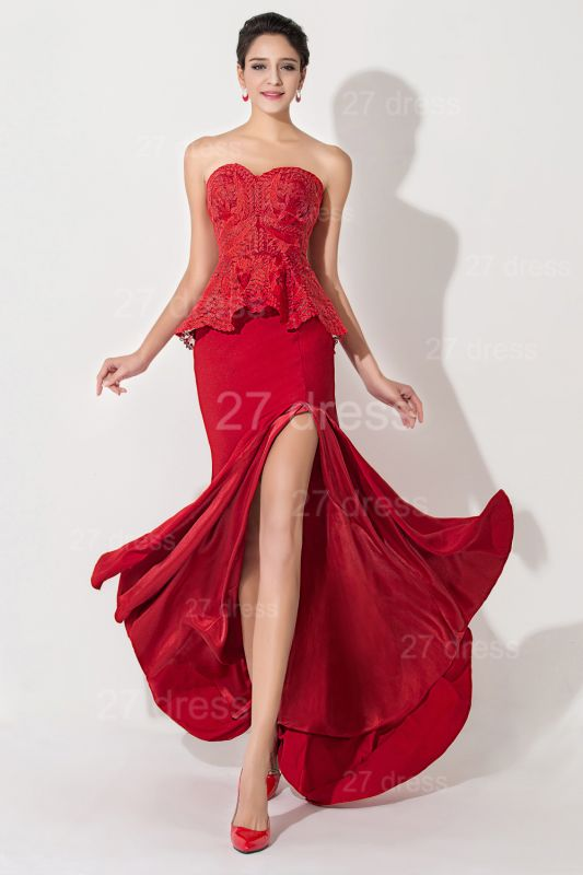 Sexy Red Sweetheart Sleeveless Evening Dress Front Split