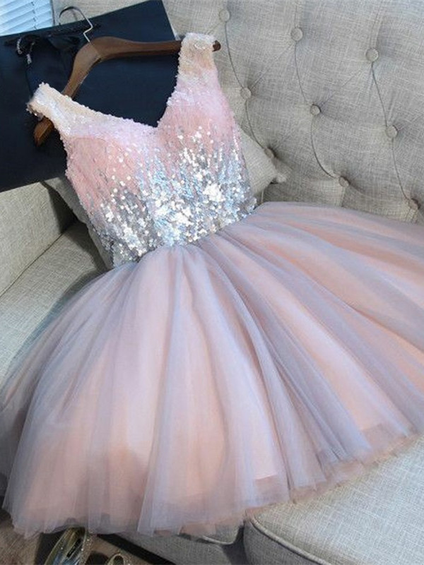 Newest Pink Sequined A-line Sleeveless Homecoming Dress | Short 2020 Party Gown BA9973
