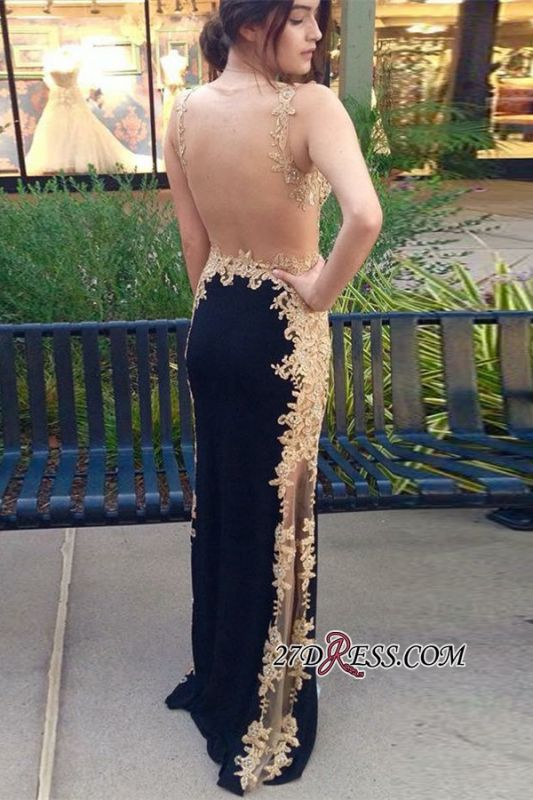 Elegant Black And Gold Sheath Prom Dresses | Straps Lace Appliques Evening Dresses