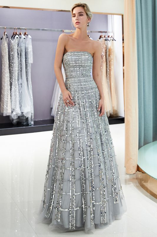 Gorgeous Strapless Sequins Evening Dress | Grey Long Prom Gowns On Sale