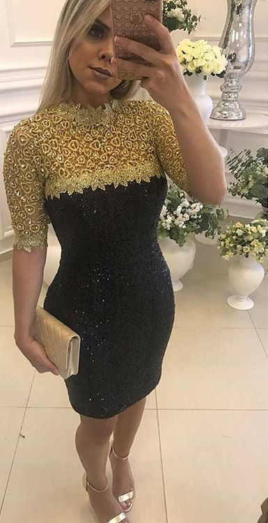 Half-Sleeve Mermaid Short Prom Dress | 2020 Sequins Homecoming Dress