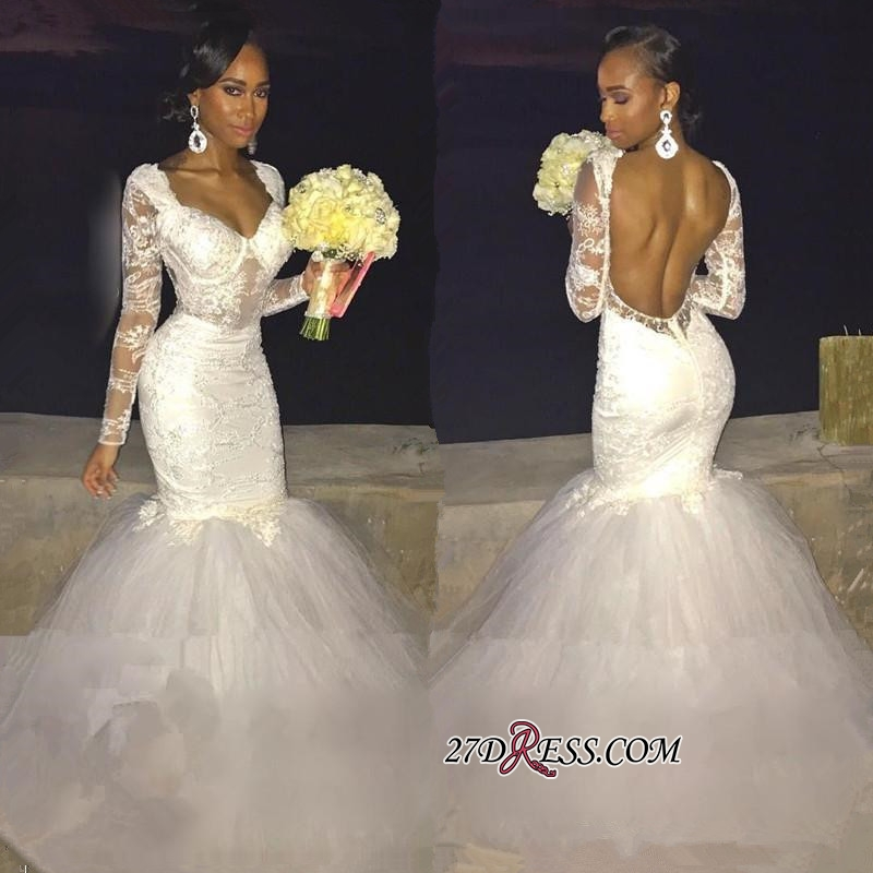 Gorgeous Lace Backless Bridal Gowns | Long-Sleeve Mermaid Wedding Dress On Sale