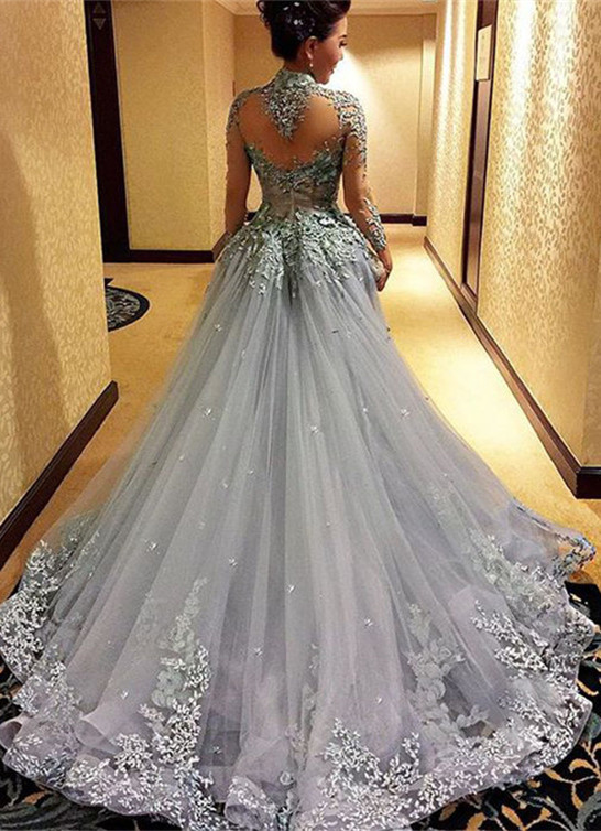 Newest Lace Appliques Long Sleeve Evening Dress | Court Train Party Gown