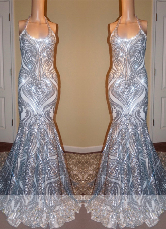 Gorgeous Halter Scoop Prom Dresses   2020 Mermaid Long Sequins Evening Gowns