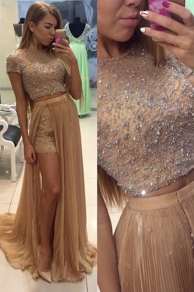Stunning Two Pieces Prom Dresses 2020 Beadings Short Sleeve Split Party Gowns