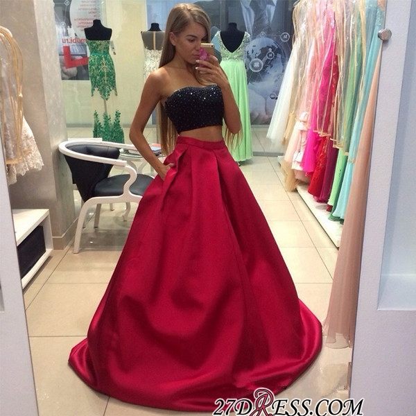 Two-Piece Strapless Sleeveless A-line Modest Prom Dress