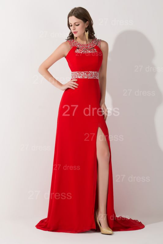 Sexy Red Front Split Evening Dress Crystals Sweep Train
