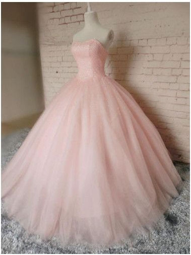 Sleeveless Sweetheart Prom Ball Gown Pink Tulle Dresses Chic Princess Dresses