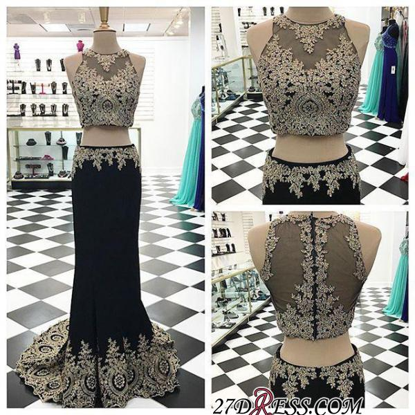 2020 Crystal Sleeveless Appliques Black Two-Pieces Mermaid Prom Dress