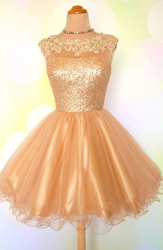 Gold Sequins Appliques Shiny Short Puffy Homecoming Dresses