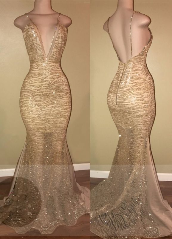 Sexy Gold Spaghetti Strap Mermaid Formal Dress | Open Back Prom Dress