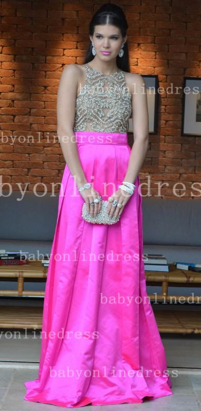 Pink Sexy Vestidos Vintage Prom Dresses Long Jewel Ruffles Evening Dresses With Beaded Crystal