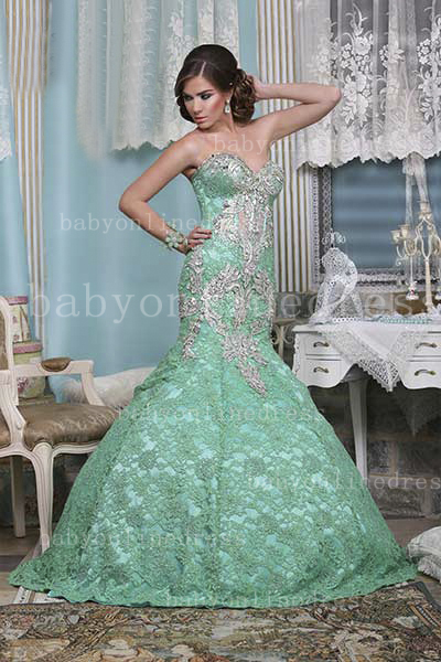 Beaded Green Lace Dresses Wholesale Middle East of Evenings Sweetheart Mermaid Floor-length Gowns