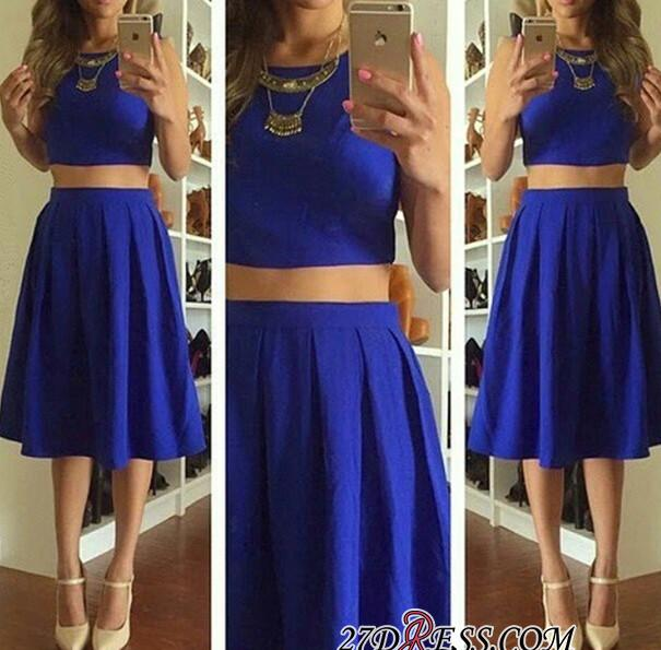 Knee-Length Short Royal-Blue Cute Sleeveless Two-Piece Homecoming Dresses