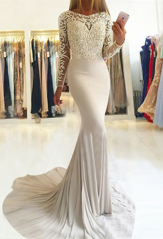 Elegant Long-Sleeve Lace Prom Dress | 2020 Mermaid Evening Party Gowns
