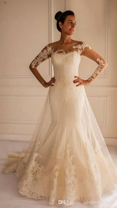 Chic Lace Appliques Mermaid Tulle Wedding Dress 2020 Court Train