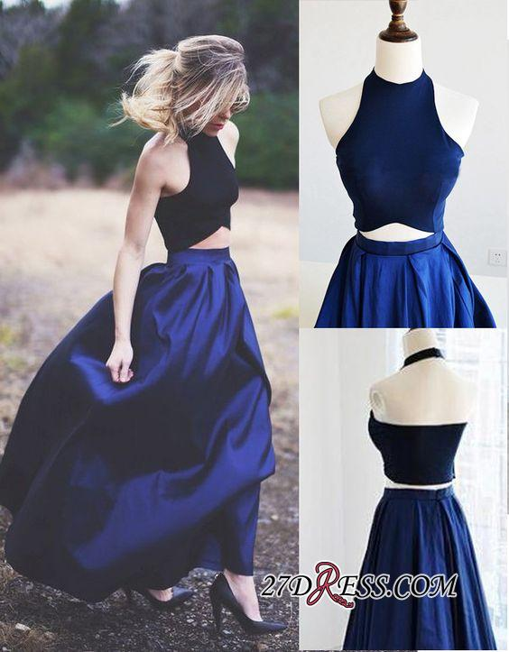 Navy Blue Puffy Elegant Two-Piece Prom Dresses