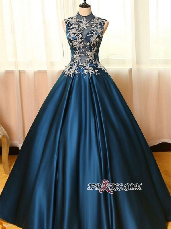 Lace Puffy Dresses Neck Dark Appliques Sleeveless Prom High Evening Dresses