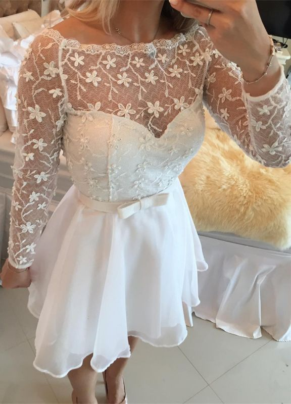 Beautiful White Lace Homecoming Dress 2020 Short Long Sleeve Cocktail Dress