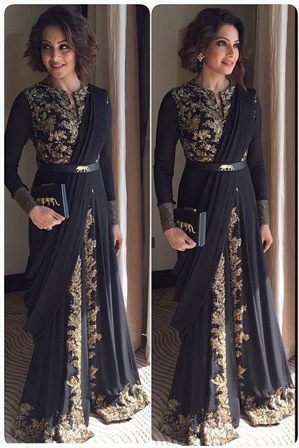 Elegant Long Sleeve Black Prom Dress With Appliques Floor-length
