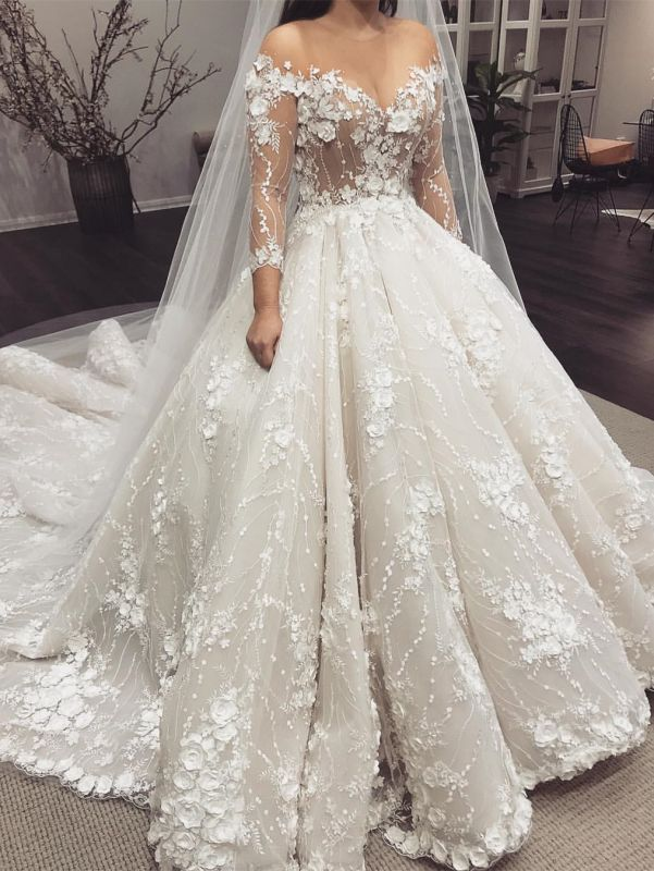 Sexy Crew Long Sleeves 2020 Bridal Gowns | Princess Lace Appliques Wedding Dress On Sale