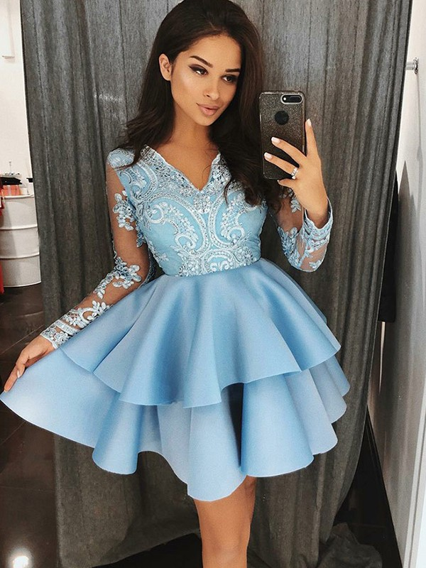 Newest Long Sleeve Blue Lace Homecoming Dress | 2020 Ruffled Party Gown