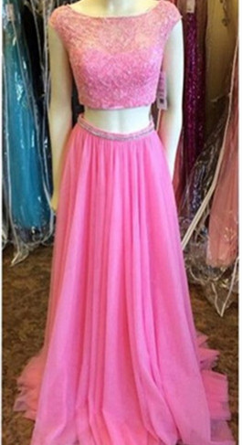 Newest Pink Two Piece 2020 Prom Dress Lace Beadings Cap Sleeve