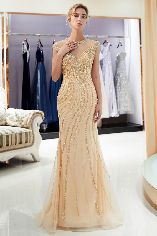 Glamorous Off-the-Shoulder Mermaid Gold Prom Dresses | 2020 Long Prom Gowns With Crystals