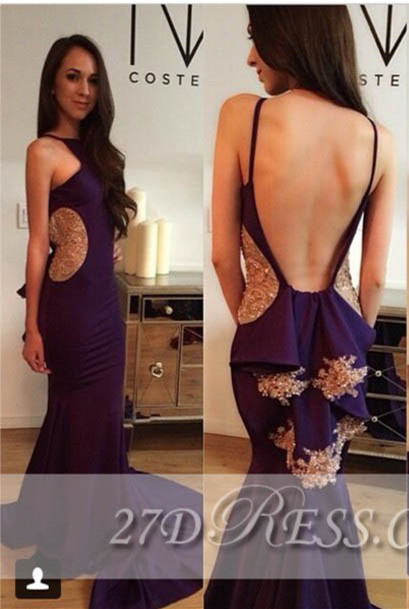 Sexy Open Back Mermaid Evening Dresses Spaghetti Straps Appliques Prom Gowns