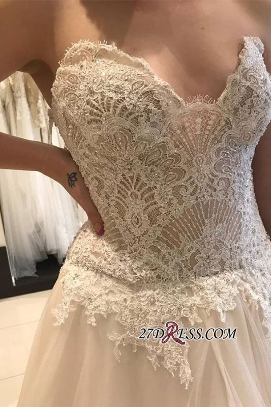 Luxury Applique Lace Tiered Backless Strapless A-line Sweetheart Wedding Dress