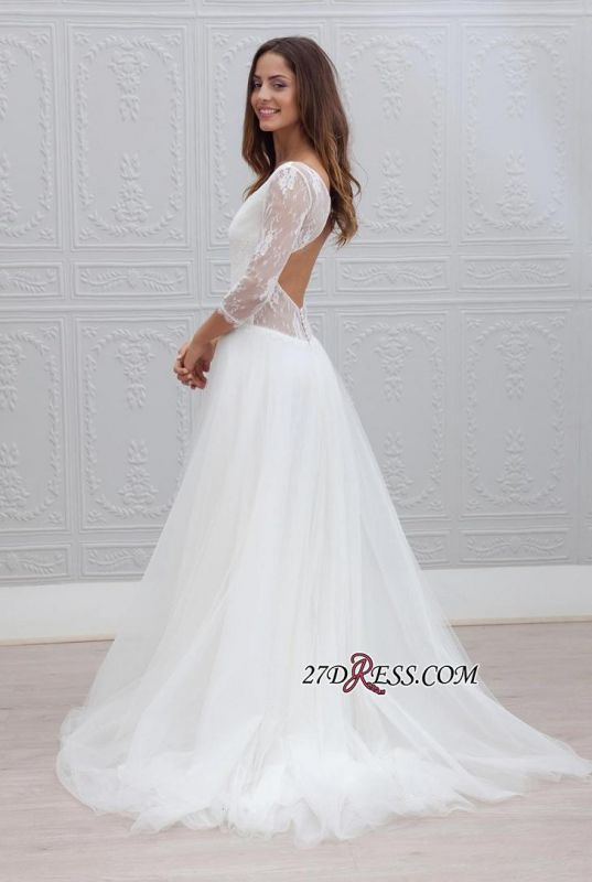 V-neck Sweep-train Simple Backless A-line Wedding Dress LPL120