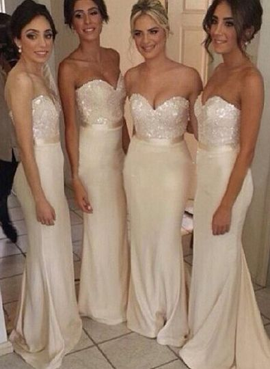 Gorgeous Sequined sheath prom dress satin newest style bridesmaid gowns
