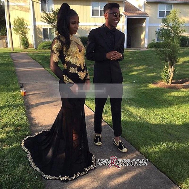 Long-Sleeve Keyhole Gold-Appliques Mermaid Black Sexy Prom Dress BK0