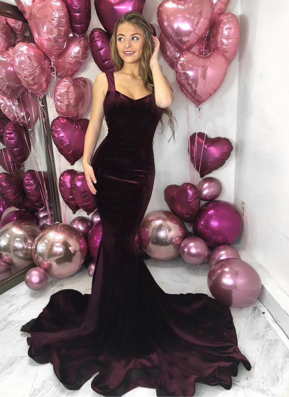 Gorgeous Straps Mermaid Sleeveless Evening Dress | Backlesss 2020 Long Prom Gown On Sale
