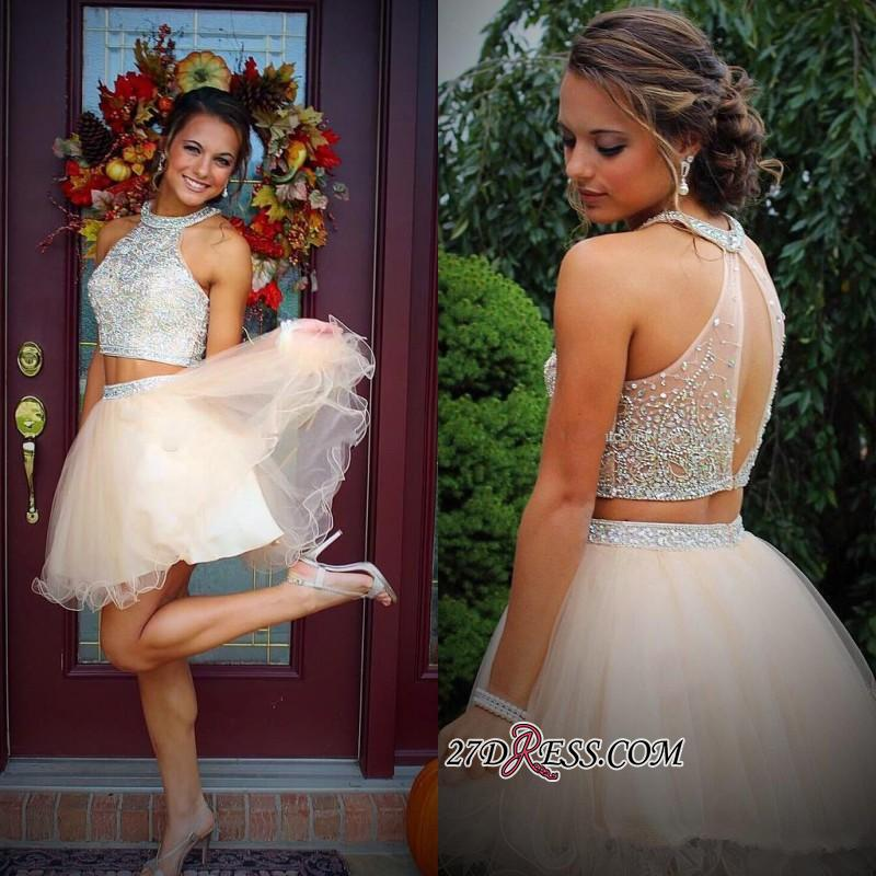 Short Champagne Halter Crystals Mini Discount Open-Back Two-Piece Organza Homecoming Dresses