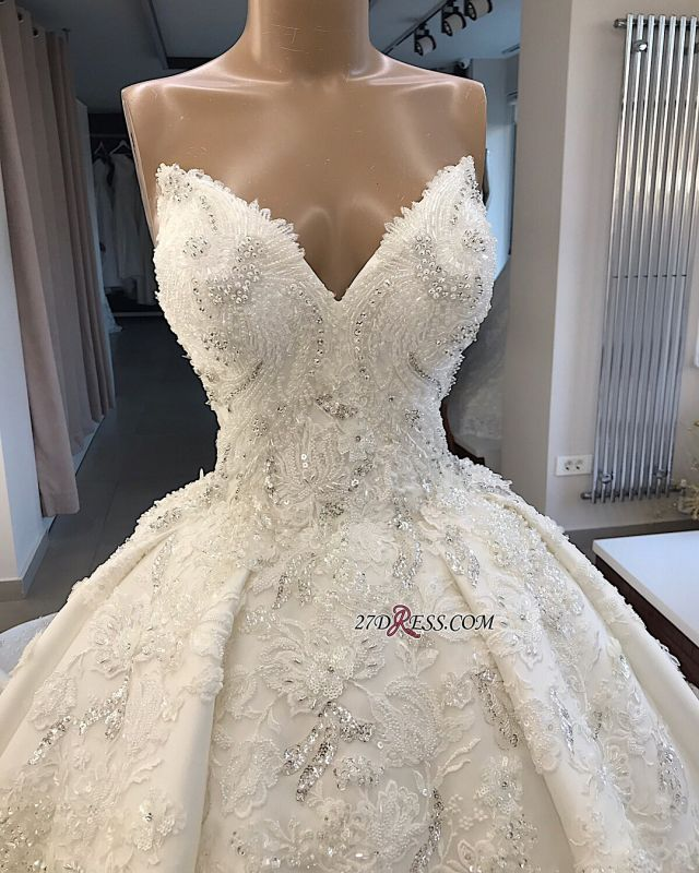 Ball-Gown Brilliant Sleeveless Sweetheart Appliques Wedding Dresses