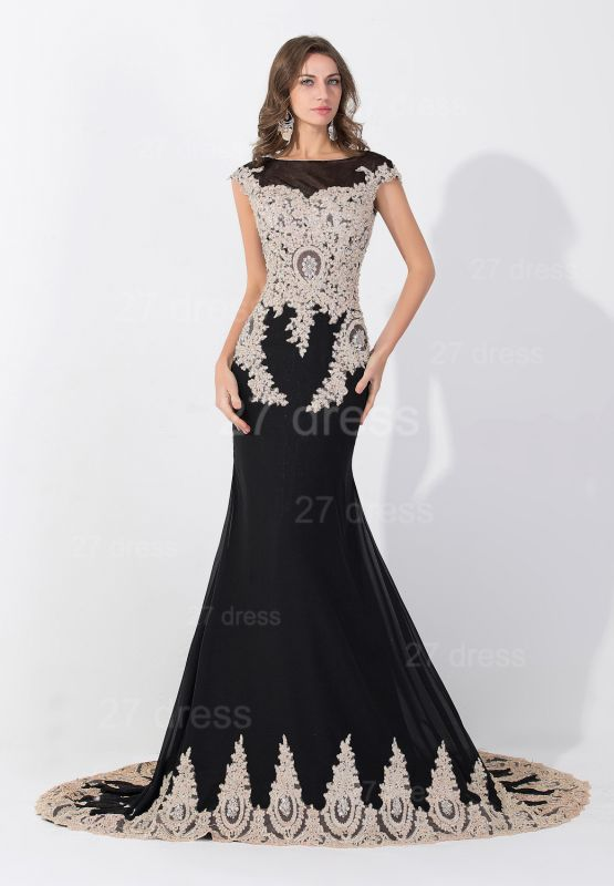 Sexy Black Lace Appliques Evening Dress Sweep Train
