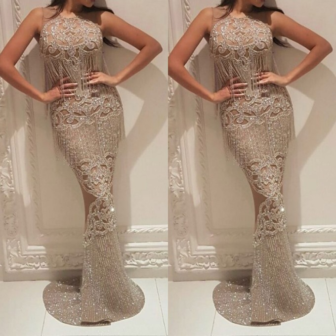 Gorgeous Crew Sleeveless Sequins Evening Dress | Mermaid Floor Length Prom Gowns With Tassels On Sale