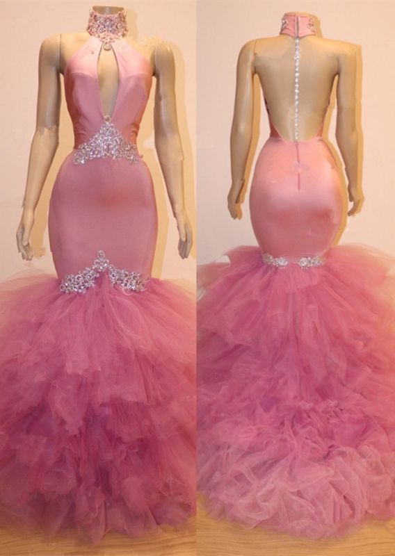 Gorgeous Pink Tulle Prom Dresses | 2020 Mermaid Crystal Evening Gowns BC1555